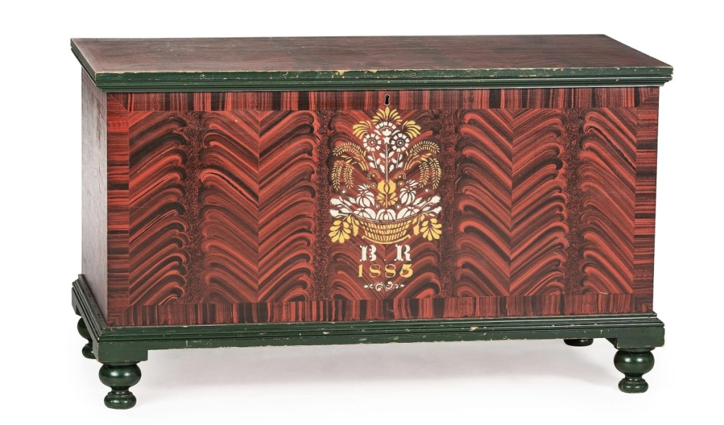 """Brilliant original color distinguished this paint-decorated poplar blanket chest by Jacob Werrey (1838-1893), which was dated 1885, from Fulton County, Ohio. It had been in Wes Cowan's private collection and had been exhibited in """"A Tradition of Progress: Ohio Decorative Arts 1860-1945"""" in 2015. A collector from the Midwest paid $34,375 ($10/15,000)."""