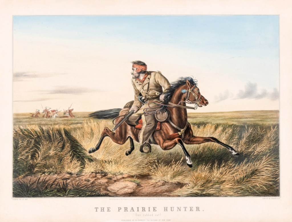 """""""The Prairie Hunter: One rubbed out!"""" by Arthur Fitzwilliam Tait (1819-1905), 1852. Lithograph, image size 14-1/16 by 20-11/16 inches. Although Tait never traveled farther west than Chicago, he created many of Currier & Ives' most popular Western pictures. This image borrows from William Ranney's painting """"The Trapper's Last Shot."""""""