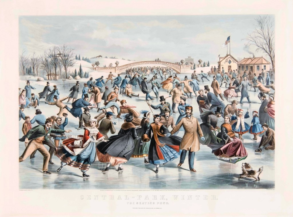 """""""Central-Park, Winter: The Skating Pond"""" by Charles Parsons, 1862. Lithograph, image size 18 by 26-  inches. New York City's Central Park was a popular subject for Currier & Ives, which published more than a dozen images of leisure activities there."""