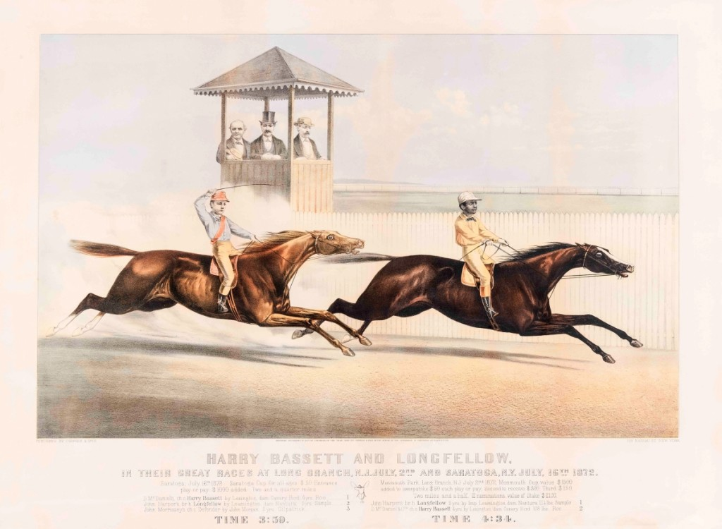 """""""Harry Bassett and Longfellow, in their Great Races at Long Branch, N.J. July, 2nd and Saratoga, N.Y. July, 16th 1872,"""" 1872. Lithograph, image size 16-  by 26¾ inches. Currier & Ives produced more than 750 prints related to horse-racing, indicative of the sport's popularity in the Nineteenth Century. Longfellow, right, is ridden by the African American jockey John Sample."""