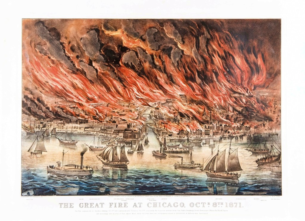 """""""The Great Fire at Chicago, Octr. 8th. 1871,"""" 1871. Lithograph, image size 17 by 25 inches. The Great Chicago Fire consumed over three-square miles of the city, killed roughly 300 people and left nearly 100,000 homeless. Popular lore placed the blame on the O'Leary family's cow, said to have kicked a lantern over into a pile of hay."""