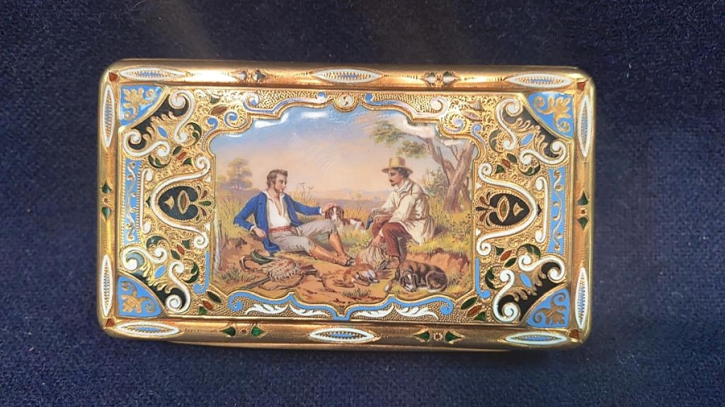 A collecting couple from Richmond, Va., wanted this 18K gold and enamel snuff box so badly that they drove to the sale to bid on it. It measured 3¼ by 1-  inches, was engraved 'John Livezey 1861' and marked CM. Fortunately, the Virginia couple did not make the drive in vain, winning it for $6,900.