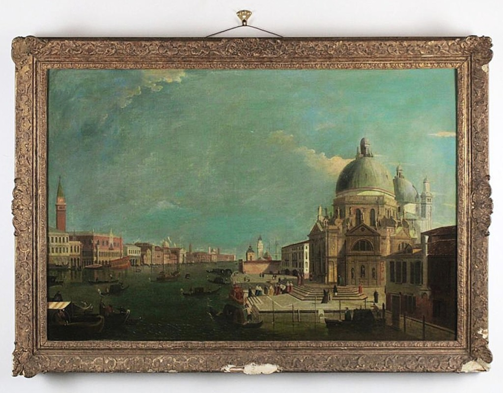 """The highest priced item in the two-day sale was this oil on canvas painting of a canal scene in Venice. Cataloged as an """"Eighteenth Century work in the manner of Canaletto,"""" it sold for $48,000, far above the estimate."""
