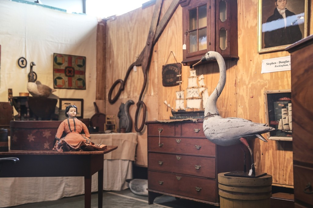 A fine swan decoy lured buyers into the booth of Stephen-Douglas Antiques, Rockingham, Vt. The dealers hosted a concurrent open house in their nearby Walpole, N.H., gallery and said the show at Okemo looked the best it has in years.                                   —Antiques at the Icehouse