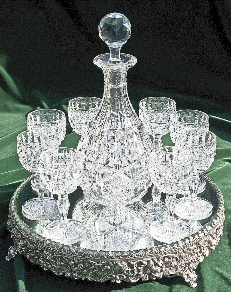 Decanter set in the Ellesmere pattern by Libbey Glass Company, circa 1900. Lead crystal.