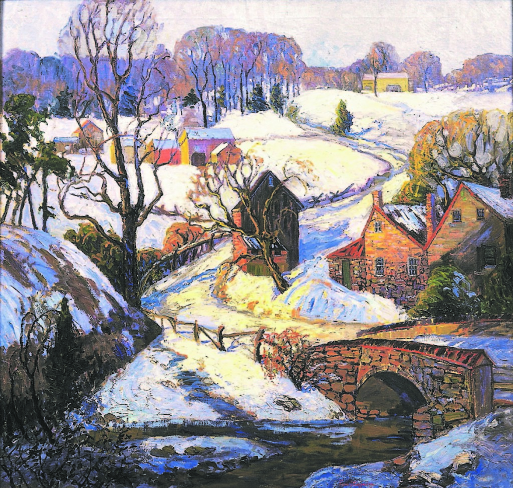 """""""Back Road To Pipersville,"""" circa 1926-1930. Oil on canvas, 38 by 40 inches. Provenance to Robert and Mary Lillie collection. Gift to the James A. Michener Art Museum Permanent Collection, 1999."""