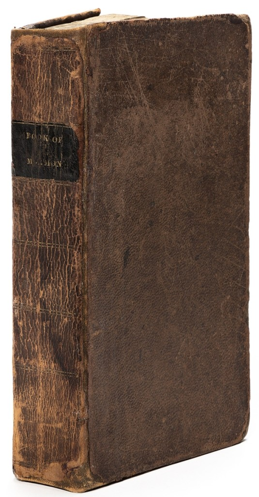 Leading the sale was a first edition of The Book of Mormon: An Account Written by the Hand of Mormon, upon Plates Taken from the Plates of Nephi, Palmyra, 1830. The copy sold for $112,500, exceeding its $75,000 high estimate and posting a record for the book.