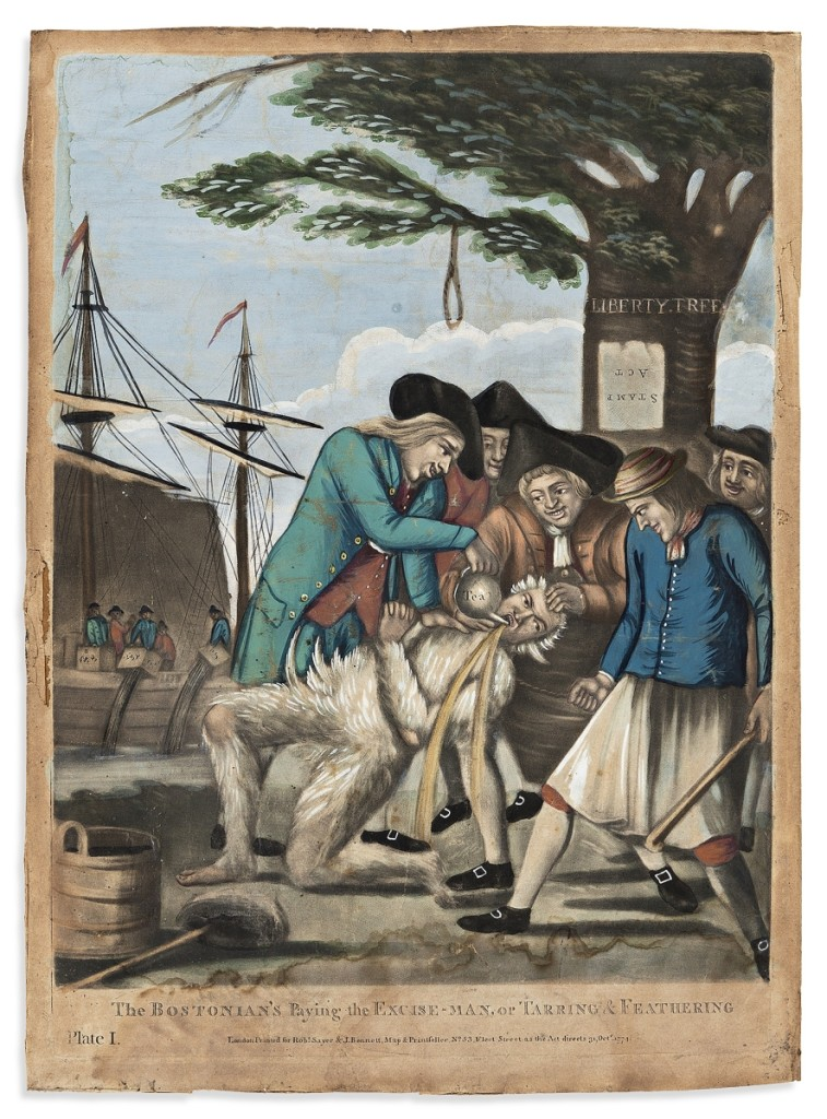 """Fetching $50,000 against a $10/15,000 estimate was a 1774 hand colored mezzotint by Philip Dawe, """"Bostonian's Paying the Excise Man, or Tarring & Feathering,"""" which depicts a scene that occurred a month after the Boston Tea Party."""
