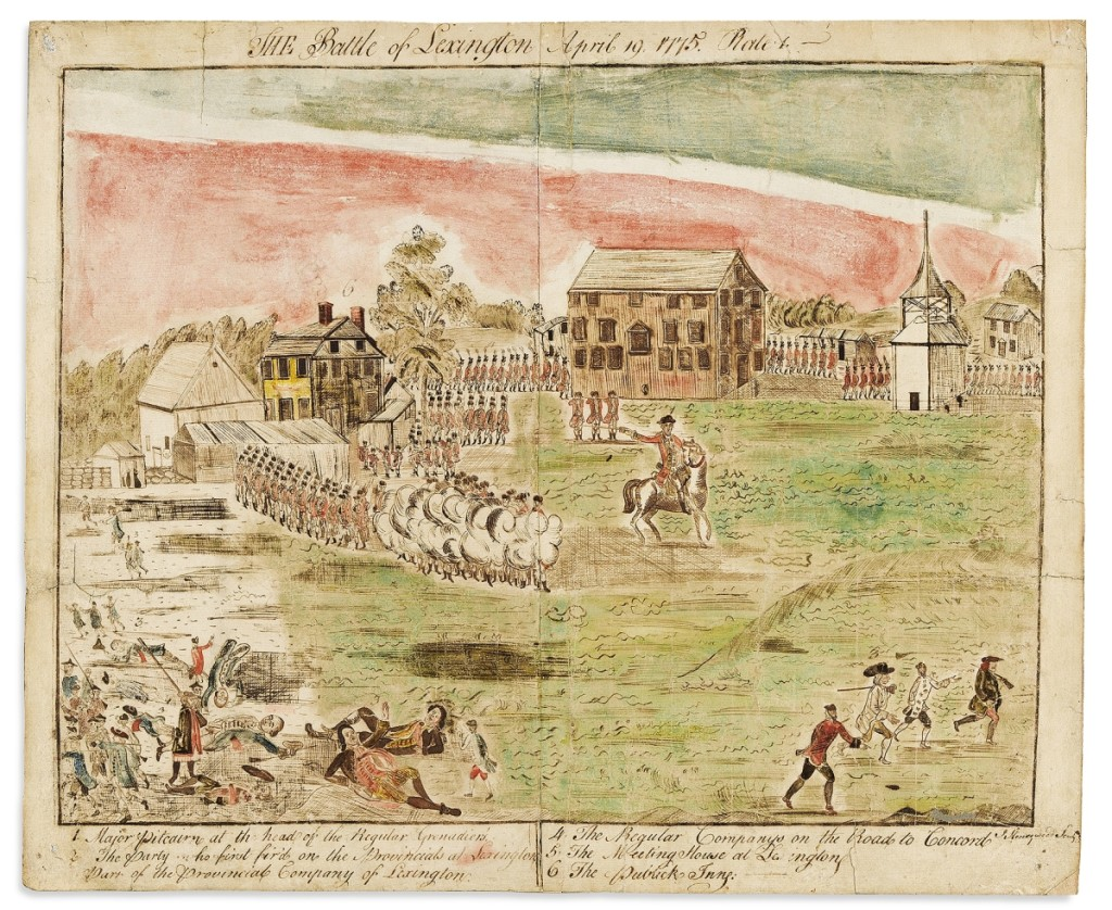 A set of four 1778 ink and watercolor drawings by St John Honeywood (1763-1798), depicting the Battles of Lexington and Concord, after the famous engravings by engraver Amos Doolittle, carried a high estimate of $75,000, but outperformed at $100,000.