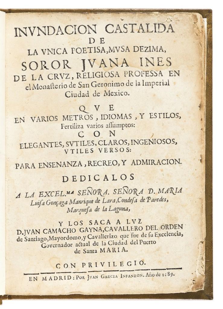 A complete set of the collected works of Mexican nun Juana Ines de la Cruz (1648-1695), 1689, 1693, 1701, was bid to $50,000.