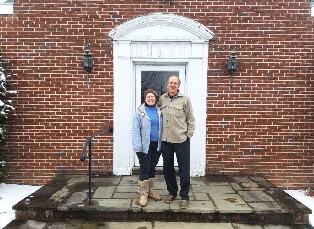 Lisa and Philip in front of the old shop in Downingtown, totally exhausted after having spent the past week in final push to clean out the building prior to its sale on March 1, 2018. His father built the shop in 1956. Courtesy Lisa Minardi.