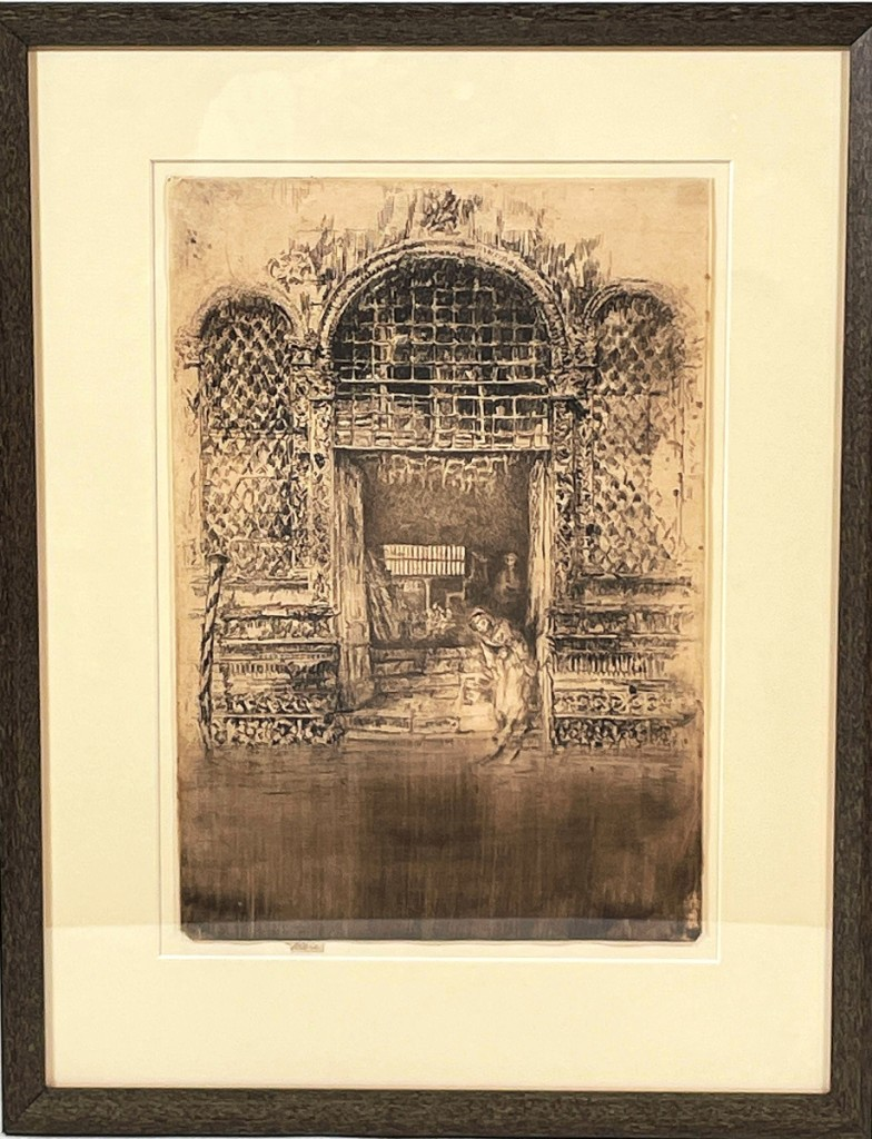 """A pencil-signed James McNeill Whistler (18341903) print """"The Doorway,"""" first state, 13 by 17 inches framed, property from the Bentley estate, earned $11,250 against a $3/6,000 estimate."""